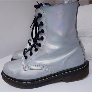 Dr. Martens Pascal Silver Boots Size 7